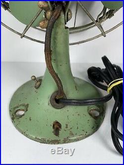 Antique Victor Breeze-Spreader Fan 1920 1930 Green Desk Fan USA Ohio Tested Work
