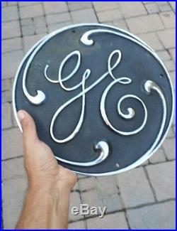 Antique Vintage 12 Inch Brass General Electric Ge Sign Plaque Railroad Turbine
