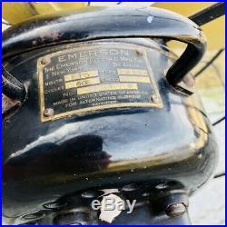 Antique Vintage EMERSON # 29646 12 Oscillating Brass Blade Fan WORKS