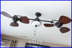 Antique Vintage Electric Bronze 74 In Downrod Ceiling Fan 6 Blades Light Remote