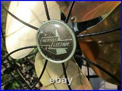 Antique Vintage Electric RESTORED Emerson Oscillating 6250-H Jubilee Brass Fan