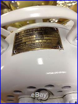 Antique Vintage Emerson 71666 Oscillating Electric Fan 6 Brass Blades 1925