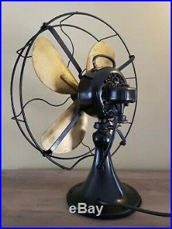 Antique Vintage Emerson Brass Bladed Oscillating Fan Type 73648 Works 3 Speed