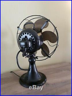 Antique Vintage Emerson brass 6 bladed oscillating fan Type 24666 Works 3 Speed