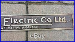 Antique Vintage General Electric Ge Rare Sign Plaque Name Plate Made In England