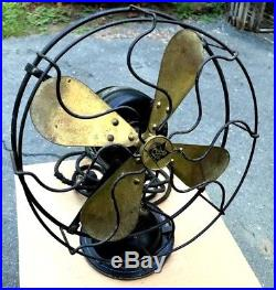Antique Vintage Robbins & Myers Oscillating Table Fan with 10 Brass Blades