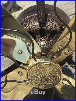 Antique Vtg 4 Brass 12'' Blade General Electric GE Electric Fan Works Great