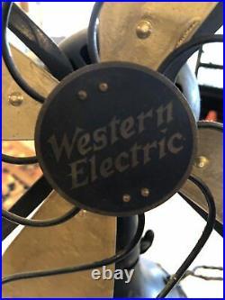 Antique Western Electric Fan Brass Color Blades 1910 3 Speed Oscilate