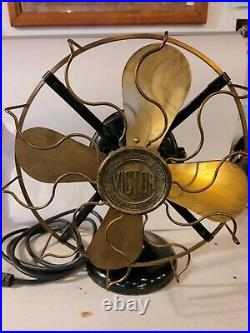 Antique Western Electric Victor Brass Blade & Cage Electric Fan Pat 1893 1906