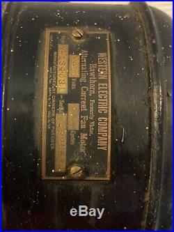 Antique Western electric\Hawthorn brass blade table fan