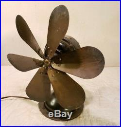 Antique Westinghouse Brass 6 Blade 12 Fan Missing Cage Working COOL