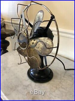 Antique Westinghouse Brass Blade Brass Cage Oscilating 12 Fan