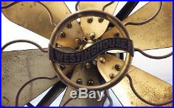 Antique Westinghouse Fan, 6 Brass Blades, Brass Cage, Style #164864