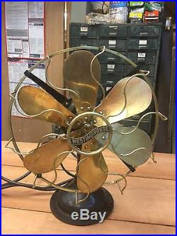 Antique Westinghouse Fan Circa 1914 Brass Blades And Cage
