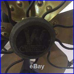 Antique Westinghouse Mod 164864G Six Brass Blade Fan Vintage Industrial Decor