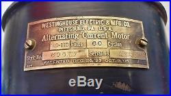 Antique Westinghouse Tank Fan 1893-1906 12 Cage Brass Blades #60677 Runs