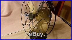 Antique ge 12 brass blade 3 speed oscillating fan cat 75423