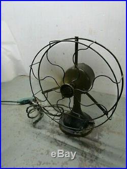 Antique vintage Energex brass blade fan Sears Roebuck oscillating 3 speed