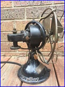 Early Menominee Staghorn Oscillating Brass Blade Antique Fan All Original