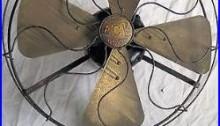 Eck Hurricane Electric Fan Brass Blade Cast Iron Feet Tilt Oscillate Antique Old