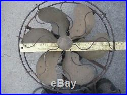 Emerson Brass 6 Blade Steel Cage 12 Antique Electric Fan Parts or Repair