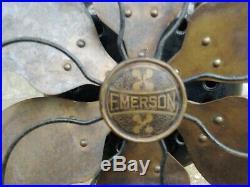 Emerson Desk Fan Model 2466 Six Blade Parker Brass Blade Antique Machine