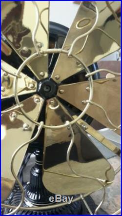 Emerson Trojan 5210 6-blade brass antique electric pancake fan Mint
