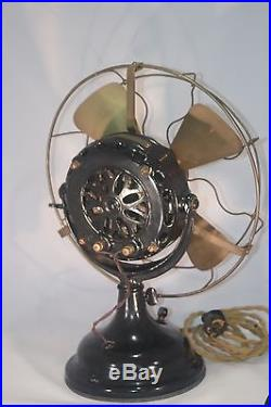 GE Electric Fan, Brass Blade And Cage Pancake Antique Fan. 1905