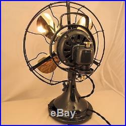 GE General Electric 2-STAR Brass Blades Antique Fan Restored LOOK