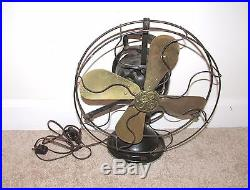 Great Antique General Electric Four Blade Brass Fan Ge Electric
