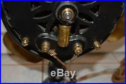 General Electric Antique Brass Blade Fan Ge Pancake Motor Early 1900's Ac 17