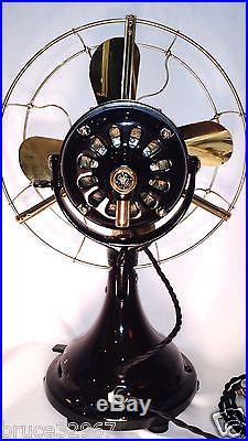 General Electric GE 12 Brass Blade Antique Vintage Electric Fan Restored