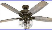 Hunter Crown Canyon Electric Ceiling Fan 52 Inch Indoor Antique Rustic Bronze