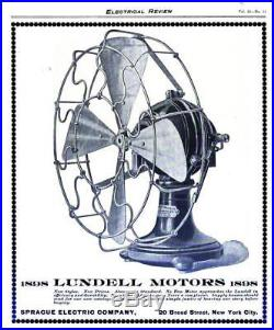 Lundell / Sprague antique electric fan Rare Circa 1898