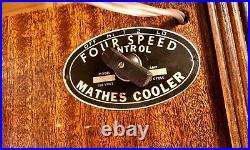 Mathes Cooler Antique Vintage Wooden Fan 4 blade 4 speed Works Great