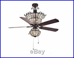 NEW 52 In Vintage Antique Electric Indoor Bronze Light Ceiling Fan 5 Blades