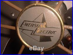 NICE ANTIQUE 1940'S EMERSON 77648-SG 3-SPEED 16 OSCILLATING FAN WORKS GREAT