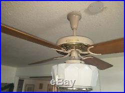 New Vintage Brass 1960 Hunter Ceiling Fan w Antique Globe & Remote Control Opt