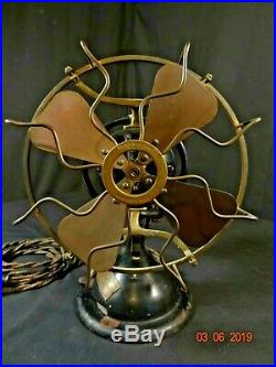 Nice Antique Menominee Stag Horn AC DC Brass Blade Cage Table Fan UNMOLESTED