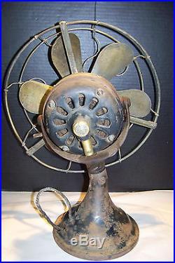 Old GE General Electric Brass 6 Blade Fan 12 Antique Vintage Original RARE