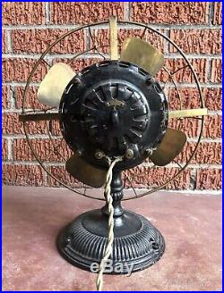 Ooak Antique Electric Fan Early Ge Pancake Fan Brass Cage/blades Works Perfect