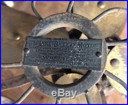 Pre Electric Hot Air Kerosene Fan LAKE BREEZE MOTOR Antique Cast Iron Brass Rare