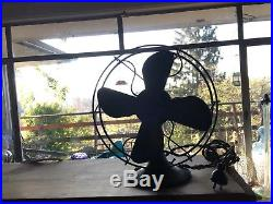 RARE ANTIQUE VINTAGE BRASS OSCILLATOR FAN withCAST IRON BASE 12 IN TALL-BEAUTIFUL