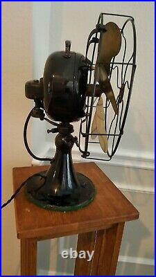 RARE Antique Emerson Oscillating Fan With Six Brass Blades. 29666 Running Strong