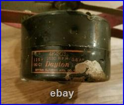 RARE Antique Vintage Dayton 4 Blade Electric Fan With Wooden Handle Unique