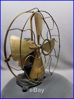 RARE Antique Western Electric Brass 4 Blade Cast Iron Bi-Polar Fan 12 DC