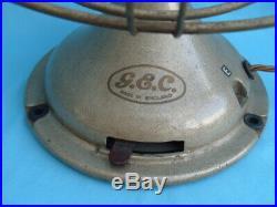 RARE VTG 1930s 40s ART DECO GEC OSCILLATING 3 SPEED ELECTRIC 14 DESK FAN GWO