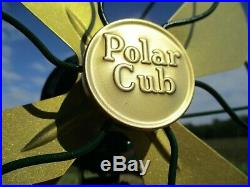 RESTORED Antique Vintage Electric Green Polar Cub Fan 8 Blades Made by Gilbert