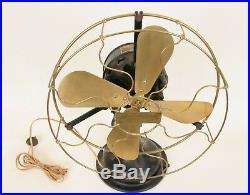 Rare Antique Brass Century Oscillating Electric Fan Type S3 Model 15