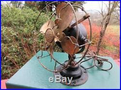 Rare Antique Emerson 8 Electric Fan #19644 with Brass Blades & Cage Yoke Mount